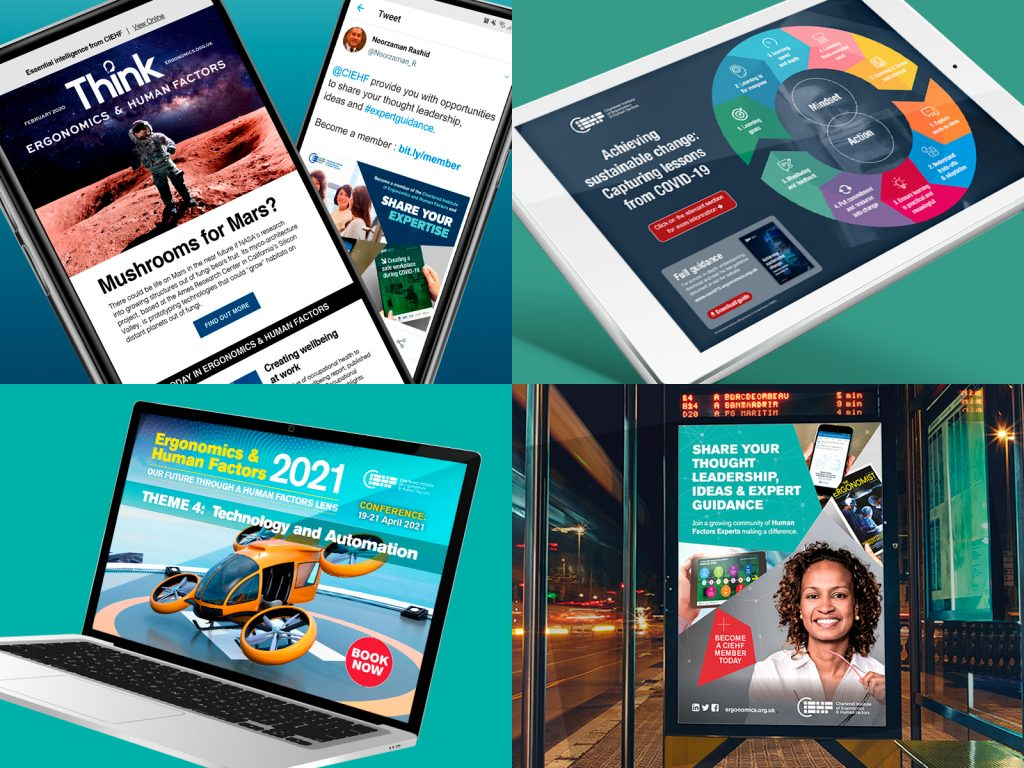 A range of products for CIEHF, including digital advertising panels, Websites, Infographics and e-newsletters
