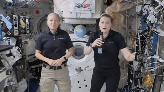 Astronauts Kate Rubin and Shannon Walker on board the International Space Station